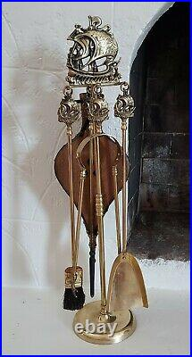 Vintage Sailing Ships Fireplace Tool Set 4 Piece Set Plus Stand and Bellows