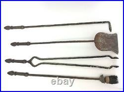 Vintage Set Used Fireplace Woodstove Tools Tongs Shovel Brush Poker Stand