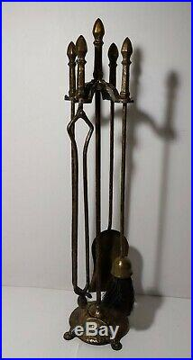 Vintage Set of Hammered Wrought Iron Fireplace Tools (4 tools + 1 base 5 pc)