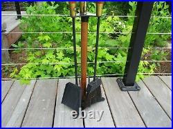 Vintage Seymour Fireplace Tool Set Iron Wood Brass Wooden MCM Danish Modern Cool