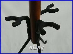 Vintage Seymour Mid Century Modern Fireplace Tool Set Walnut Brass Iron