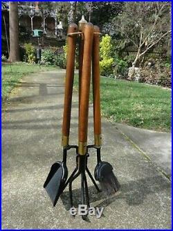 Vintage Seymour Mid Century Modern Fireplace Tools Set Iron Wood Brass