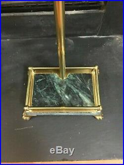 Vintage Solid Brass 5 Piece Fireplace Tool Set with Green Marble Handles & Base