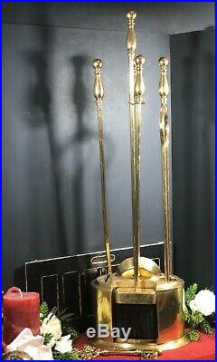 Vintage Solid Brass ENCLOSED Fireplace Tool Set Decorative 5 piece Hearth Set