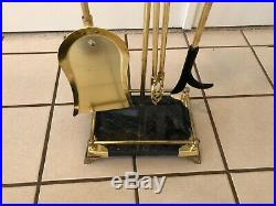 Vintage Solid Brass Fireplace 4 Piece Footed Tool Set W Black Marble Handles
