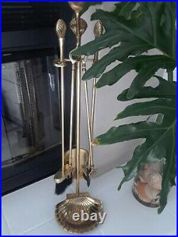 Vintage Solid Brass Fireplace 5 Pc Tool Set Sea Shells/clam Shell Base