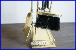 Vintage Solid Brass Fireplace 5 Piece Footed Tool Set MID Century