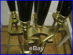 Vintage Solid Brass Fireplace 5 Piece Footed Tool Set With Black Marble Handles