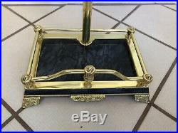 Vintage Solid Brass Fireplace 5 Piece Footed Tool Set With Jade Marble Handles