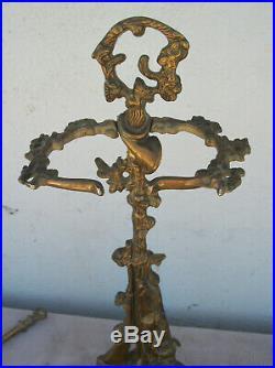 Vintage Solid Brass Fireplace Tool Set Hunting Dog Gun Poker/Spade/Tongs NICE