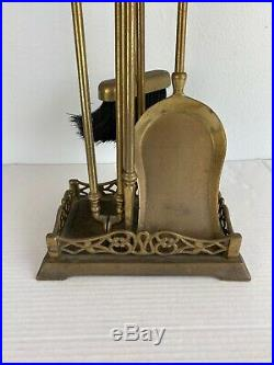 Vintage Solid Brass Fireplace Tools Set Poker Spade Tongs Broom Stand Made Italy
