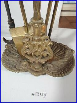 Vintage Solid Brass Fireplace Tools Set Poker Spade Tongs Stand