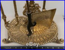 Vintage Solid Brass Fireplace Tools Set Poker Spade Tongs Stand g25