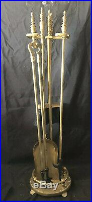 Vintage Solid Brass Fireplace Tools withStand Claw Feet 5 Pc Set EUC