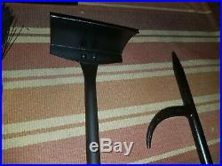 Vintage Solid Steel Wrought Iron Style Leather Wrapped Fireplace Tool Set 30lbs