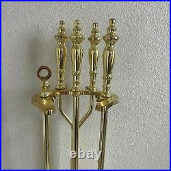 Vintage Solid brass fireplace Tool Set Mid century Fireplace Tools Fireside Boho
