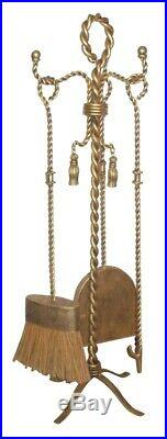 Vintage Style Gold Twisted Wrought Iron 4 Piece Fireplace Tool Set