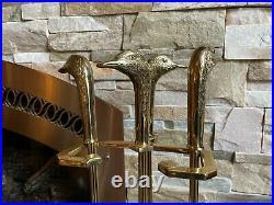 Vintage Sunset 3244 Brass Duck Head Four Pieces Fireplace Tool Set