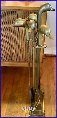 Vintage Sunset Brass Duck Head Five Pieces Fireplace Tool Set