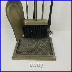 Vintage Traditional Brushed Brass Gold Fireplace Tool Set 4 Pieces