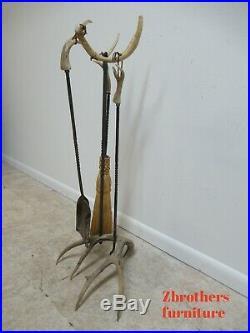 Vintage Wrought Iron Deer Antlers Horns Fireplace Tool Set