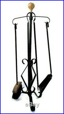 Vintage Wrought Iron Fireplace tools Set with Stand, Hand forged Shovel Coal Ton