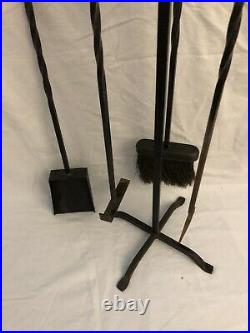 Vintage Wrought Iron Twisted 5 pc Fireplace Tool Set EC