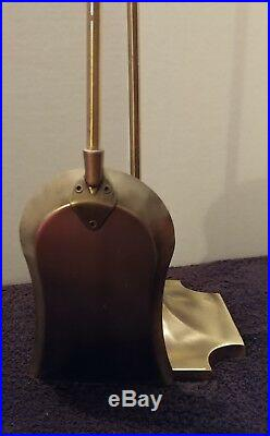 Vintage heavy brass 5 piece fireplace tool set great condition home or business