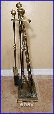 Vintage mid Century Fireplace Tools Set with Stand Brass Made in Italy
