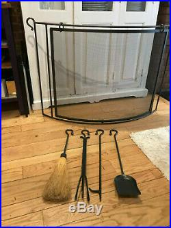 Vintage rot iron fireplace screen and full tool set