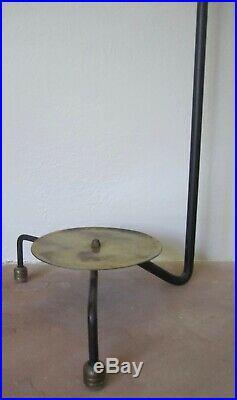 Vintage wrought iron brass fireplace tool set George Nelson Aubock era modernist