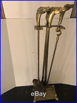 Vintage1950's Equestrian Horse Head Solid Brass Fireplace Tool Set 5 Pieces