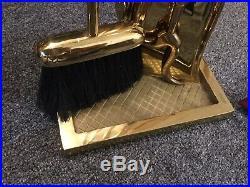 Virginia Metalcrafters Brass Fireplace Tools, tool set 4 Piece HEAVY