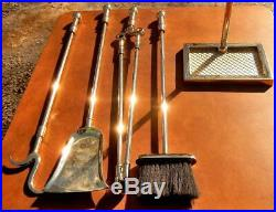 Virginia Metalcrafters Fireplace Tool Set Ball Tops Solid Brass Mint Condition