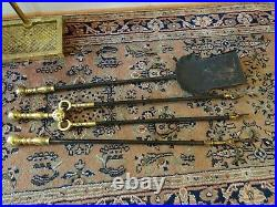 Virginia Metalcrafters Harvin Solid Brass Fireplace Tool Set 1500A/879 4 Pieces
