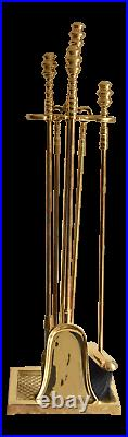 Virginia Metalcrafters Harvin Solid Brass Fireplace Tools Set of 5