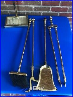 Virginia Metalcrafters Solid Brass 5 Pc Fireplace Tool Set