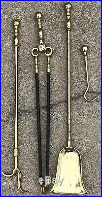 Virginia metalcrafters Brass Cast Iron Fireplace Tool Set 4 Pieces
