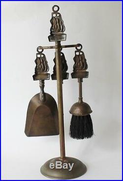 Vt English Miniature Brass Mayflower Fireplace Tool Set Shovel Poker Brush Stand