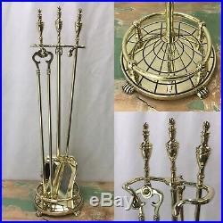 Vtg Antique Arts & Crafts Brass Fireplace Tools Set Stand Deco Hollywood Regency