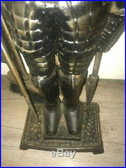 Vtg Cast Iron Medieval Knight Suit of Armor Fireplace 3 Tool Set 29 Marked 1187