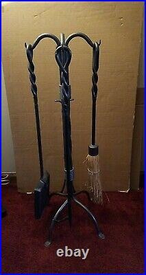 Vtg. Fireplace Forged Tool Set 4 Tools & Stand Heavy Duty