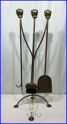 Vtg MICKEY MOUSE DISNEY Solid Brass Fireplace Tool Set 4 Piece Glove Hand D23