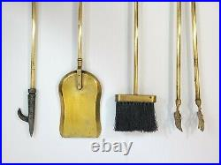 Vtg Mid-Century Gold Brass Eagle Heads Fireplace Tool Set 5 Pieces Tools Stand