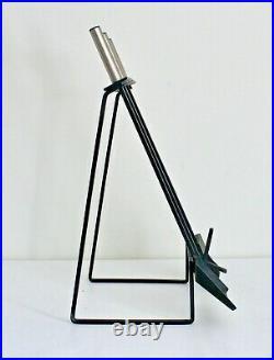 Vtg Mid Century Modern Iron Metal Chrome Fireplace Tools Set Pilgrim Nelson Rack