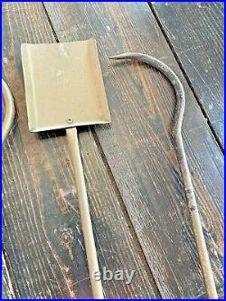 Vtg Mid Century Modern Wrought Iron Metal Brass Fireplace Tools Set Arts Crafts