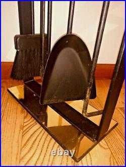 Vtg Mid Century Pilgrim Cast Iron Brass George Nelson Fireplace Tool Set Stand