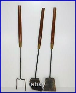 Vtg Seymour Mid Century Modern Walnut Handle Iron Retro Fireplace Tool Set Stand