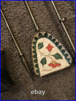 Vtg Turkish Persian Enamel Brass 4 Piece Fireplace set small w stand old tools