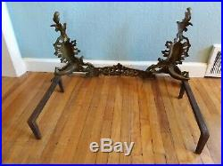Vtg Victorian French KNICK 104 Ornate Brass Fireplace Set Fender Andirons Tools